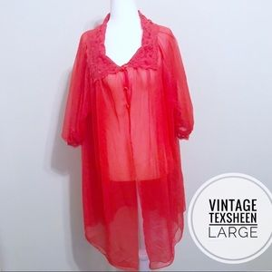 Vintage Lingerie Red Sheer Night Gown L